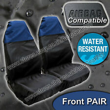 Car Van Water Resistant Nylon Air Bag OK Black Blue Front Seat Protectors Pair