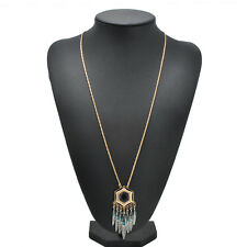 Fashion Crystal Rhinestone DreamCatcher Feather Pendant Chain Sweater Necklace