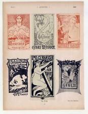 Exlibris - Ex Libris - Blatt aus Münchner Jugend 1898 Fritz Erler