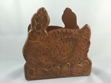 Vintage Hen Laying Eggs Napkin Holder Mail Wood