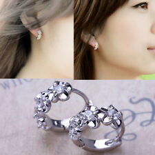 Women Silver Plated Crystal Rhinestone Flower Stud Earrings Hoop Jewelry