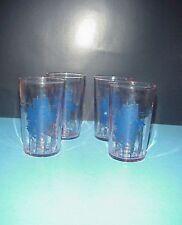 Vintage Pink Depression Drinking Juice Glasses Blue Ship Boat Ribbed Set 4
