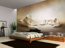 Lions Family Vintage Cream White Wall Mural Photo Wallpaper GIANT WALL DECOR