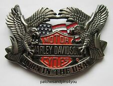 Harley Davidson Born In The USA Large Solid Brass/Chrome H-701 Baron Belt Buckle