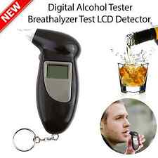 Portable Digital Alcohol Breathalyser Breath Tester LCD + 5x Mouthpieces YY