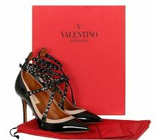 NEW VALENTINO GARAVANI LOVE LATCH BLACK PATENT STRAPS HEELS PUMPS SHOES 39/US 9