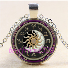 Astrology Sun and Moon Cabochon Glass Tibet Silver Chain Pendant Necklace#L4