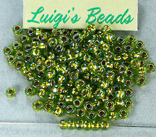 6/0 Round Toho E Glass Seed Beads #996-Gold-Lined Rainbow Peridot 20g