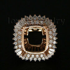 Jewelry Sets Cushion 12x14mm Solid 18kt Rose Gold Diamond Semi Mount Ring