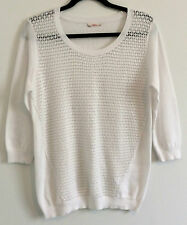 JEANS WEST BNWOT Ladies White Classic Cotton Knit 3/4 Sleeve Jumper Top Size S