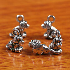 10 Pieces 10mm 3D Dog Charms Tibetan Silver DIY Jewelry Bails Findings 7240B