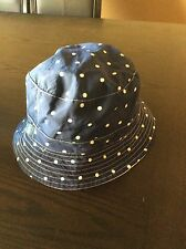 NEW RALPH LAUREN POLO BUCKET/GOLF/RAIN HAT WHITE REVERSIBLE BLUE DOTS  L/  XL