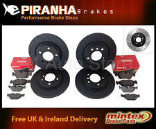 Peugeot 407 SW 2.0Hdi 04- Front Rear Brake Discs Black DimpledGrooved Mintex Pad