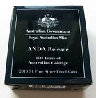 2010 100 YEARS OF AUSTRALIAN COINAGE ANDA SILVER PROOF COIN =MELBOURNE M PRIVY=
