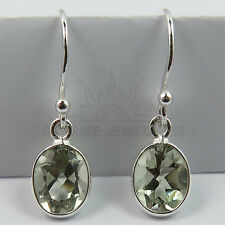 Natural GREEN AMETHYST Gems Pretty Earrings 925 Solid Sterling Silver FINE EDH