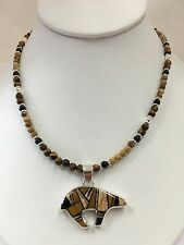 Native American Sterling Silver Navajo Tiger's Eye Inlay Bear Necklace