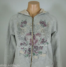 L.E.I Gray Printed Front Zip-Up Hoddie Girl's size L