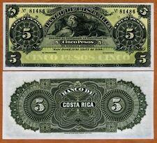 Costa Rica, 5 Pesos, 1899, P-S163r, UNC   Lion