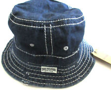 MENS TRUE RELIGION DENIM BLUE VINTAGE DISTRESSED REVERSIBLE BUCKET HAT SIZE S/M