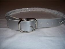 Nine West Synthetic Leather Womens Size M Braided Reversible Silver White Belt