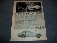 "1963 Lotus Elite Coupe Vintage Ad ""Beware of the Lotus-Eaters"""