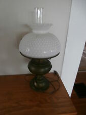 Antique Bradley Hubbard B&H Oil Lamp Milk Glass Shade Electric Brass Patina 21""