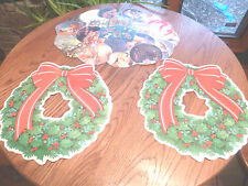 Handcrafted Religious Christmas Placemat/Wall Hanging & 2 2-side Wreaths w/ Felt