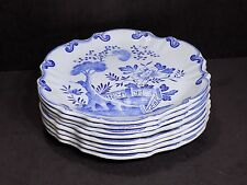 "Set of 8 Rare CREIL MONTEREAU French Majolica Blue and White Dutch 9.5"" Plates"