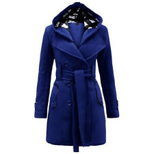 New Women' Warm Winter Hooded Trench Coat Wool Blends Long Jacket Outwear Tops