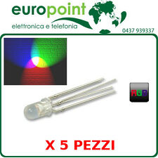 5 x Led diodo RGB 5mm 4pin catodo comune trasparente alta luminosità MULTICOLORE