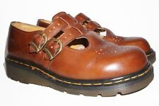Dr. Martens 8065 Mary Jane Brown Flats Made in England UK 6 US 8 Double Buckle