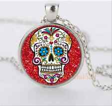 Silver red sugar skull Jewelry Necklace Glass Dome Pendant Necklace#1941