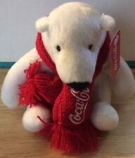 White Polar Bear RedScarf Bean Bag Plush Toy Doll Animal Coca-Cola Collectible
