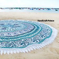 Round Mandala Indian Bohemian Elephant Tapestry Beach Picnic Throw Towel Rug