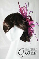 Poppy purple sinamay fascinator hat races Melbourne Cup Spring carnival Derby