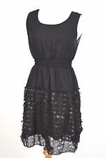ULTRA PINK LADIES JUNIORS SIZE M SHORT DRESS SLEEVELESS BLACK SHEER OVER NUDE