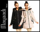 26193 DAMEN DAUNEN LOOK FELL MANTEL KAPUZE LEDER WINTER JACKE PARKA S M L XL