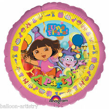 "18"" Dora the Explorer PINK Una Fiesta A Party Round Foil Balloon"