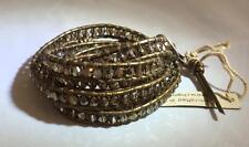 Chan Luu Bronze Shade Swarovski Crystal Wrap Bracelet Kansa Leather, NWT
