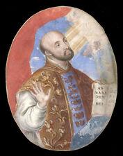 santino MINIATURA PERGAMENA 1700 S.IGNAZIO DI LOYOLA