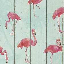 RASCH BARBARA BECKER FLAMINGO WALLPAPER - TEAL 479706 WOOD ROOM DECOR
