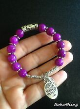 Bracelet Genuine Purple Jade Tree of Life Hippie Reiki Ethnic Boho Festival