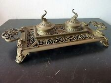 Ancien Encrier 2 Encres Bronze Sculpté Verre - Poissons XIXeme French Antique