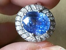 8.46 CT AGL CERT ART DECO SAPPHIRE BURMESE BURMA BLUE ANTIQUE 14K RING