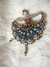 Ballerina Brooch Pin Dancing Girl Crystal Famous designer unsigned