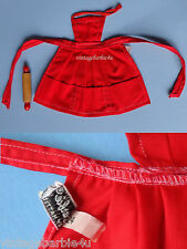 Vintage Barbie Doll PAK Red Apron PIT Tagged & Rolling Pin / What's Cookin NM