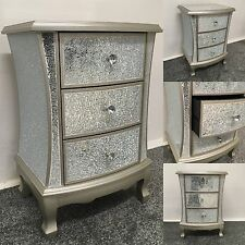 Sparkly Antique Silver Crackle Mosaic Mirrored 3 Drawer Bedside Cabinet