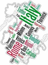 "Italy Rome Venice Bari Country Map Word Cloud Bumper Vinyl Sticker Decal 4""X5"""