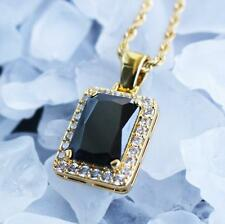 Mens Mini Hip Hop Ruby Black Onyx Square Gem Stone Pendant And Chain Necklace