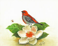 ★ Original Oil BIRD Portrait Painting Artwork PINE GROSBEAK White Lily Flower